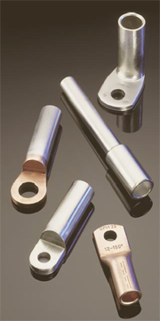Compression type cable lugs